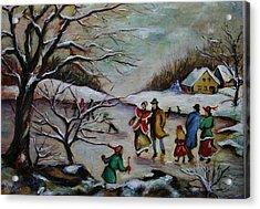 Vintage Winter Scene/skating Away Acrylic Print by Melinda Saminski