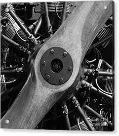 Vintage Wood Propeller - 7d15828 - Square - Black And White Acrylic Print by Wingsdomain Art and Photography