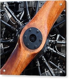 Vintage Wood Propeller - 7d15828 - Square Acrylic Print by Wingsdomain Art and Photography