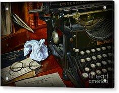 Vintage Writers Desk Acrylic Print by Paul Ward