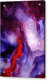 Violet Explosion-red Abstract Acrylic Print by Serg Wiaderny