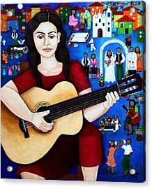 Violeta Parra And The Song Black Wedding Acrylic Print by Madalena Lobao-Tello