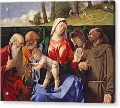 Virgin And Child With Saints Jerome, Peter, Clare And Francis Acrylic Print by Lorenzo Lotto