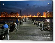 Virginia Beach Fishing Pier Acrylic Print by Bill Cobb