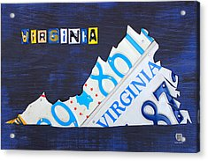 Virginia License Plate Map Art Acrylic Print by Design Turnpike