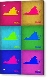 Virginia Pop Art Map 1 Acrylic Print by Naxart Studio