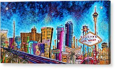 Viva Las Vegas A Fun And Funky Pop Art Painting Of The Vegas Skyline And Sign By Megan Duncanson Acrylic Print by Megan Duncanson