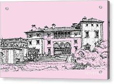 Vizacaya Museum In Baby Pink  Acrylic Print by Building  Art