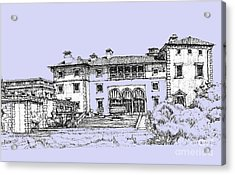Vizcaya Museum And Gardens Powder Blue Acrylic Print by Building  Art