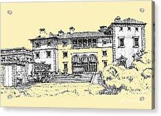 Vizcaya Museum In Light Peach Acrylic Print by Building  Art