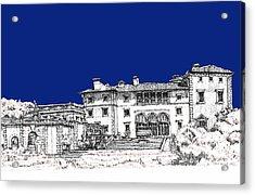 Vizcaya Museum In Royal Deep Blue Acrylic Print by Building  Art