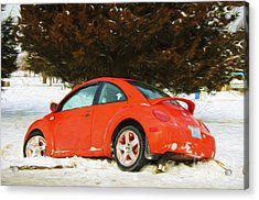 Volkswagen Snow Day Acrylic Print by Andee Design