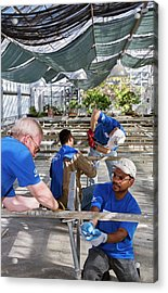 Volunteers At A Botanic Garden Acrylic Print by Jim West