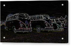 Vw Microbus Glow Acrylic Print by Steve McKinzie