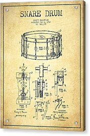 Waechtler Snare Drum Patent Drawing From 1910 - Vintage Acrylic Print by Aged Pixel