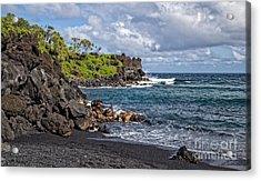 Waianapanapa State Park's Black Sand Beach Maui Hawaii Acrylic Print by Edward Fielding