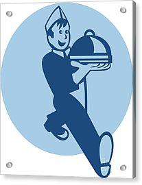 Waiter Cook Chef Baker Serving Food Acrylic Print by Aloysius Patrimonio