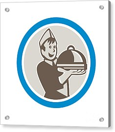 Waiter Serving Food On Platter Retro Acrylic Print by Aloysius Patrimonio
