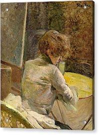 Waiting At Grenelle Acrylic Print by Henri de Toulouse-Lautrec