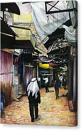 Walk Home Through Antiquity Old Jerusalem Acrylic Print by Gaye Elise Beda