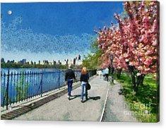 Walking Around Reservoir In Central Park Acrylic Print by George Atsametakis