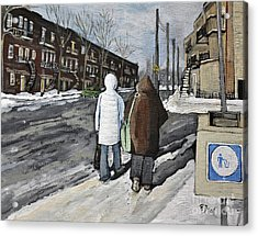 Walking On The Avenues Acrylic Print by Reb Frost