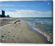 Walking The Beach Acrylic Print by Sandy Keeton