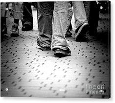 Walking Through The Street Acrylic Print by Michal Bednarek