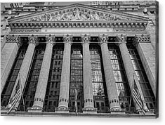 Wall Street New York Stock Exchange Nyse Bw Acrylic Print by Susan Candelario