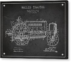 Wallis Tractor Patent Drawing From 1916 - Dark Acrylic Print by Aged Pixel