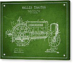 Wallis Tractor Patent Drawing From 1916 - Green Acrylic Print by Aged Pixel
