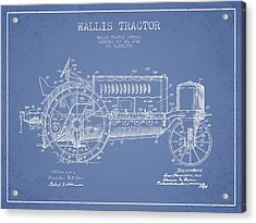 Wallis Tractor Patent Drawing From 1916 - Light Blue Acrylic Print by Aged Pixel