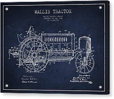 Wallis Tractor Patent Drawing From 1916 - Navy Blue Acrylic Print by Aged Pixel