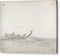 War Canoe Of Tahiti Acrylic Print by British Library