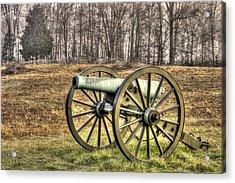 War Thunder - 1st New York Light Artillery-b1 Battery D The Wheatfield Late Winter Gettysburg Acrylic Print by Michael Mazaika