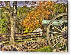 War Thunder - 3rd Massachusetts Light Artillery Battery C - J. Weikert Farm Autumn Gettysburg Acrylic Print by Michael Mazaika
