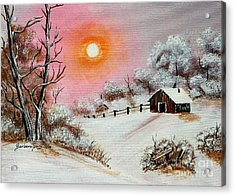 Warm Winter Day After Bob Ross Acrylic Print by Barbara Griffin