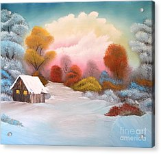 Warm Winter Sunset Acrylic Print by John Kemp