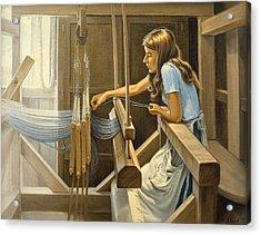 Warping The Loom  Acrylic Print by Paul Krapf