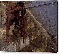 Acrylic Print featuring the photograph Varanasi Hair Wash by Travel Pics