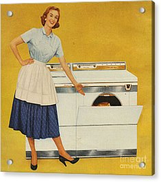 Washing Machines 1950s Usa Housewives Acrylic Print by The Advertising Archives