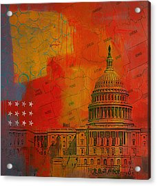 Washington City Collage Alternative Acrylic Print by Corporate Art Task Force