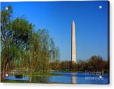 Washington Monument From Constitution Gardens Pond Acrylic Print by Olivier Le Queinec