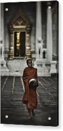 Wat Bencha Monk Acrylic Print by David Longstreath