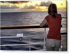 Watching The Sunrise At Sea Acrylic Print by Jason Politte