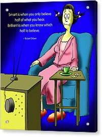 Watching Tv Acrylic Print by Mike Flynn