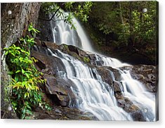 Water Cascading Over Rocky Cliffs Acrylic Print by Panoramic Images