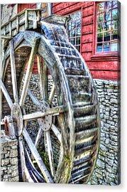 Water Wheel On Mill Acrylic Print by John Straton