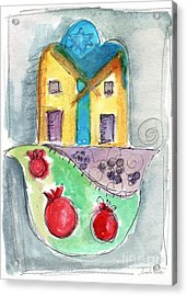 Watercolor Hamsa  Acrylic Print by Linda Woods
