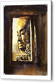 Watercolor Of Cambodian Temple Acrylic Print by Ryan Fox